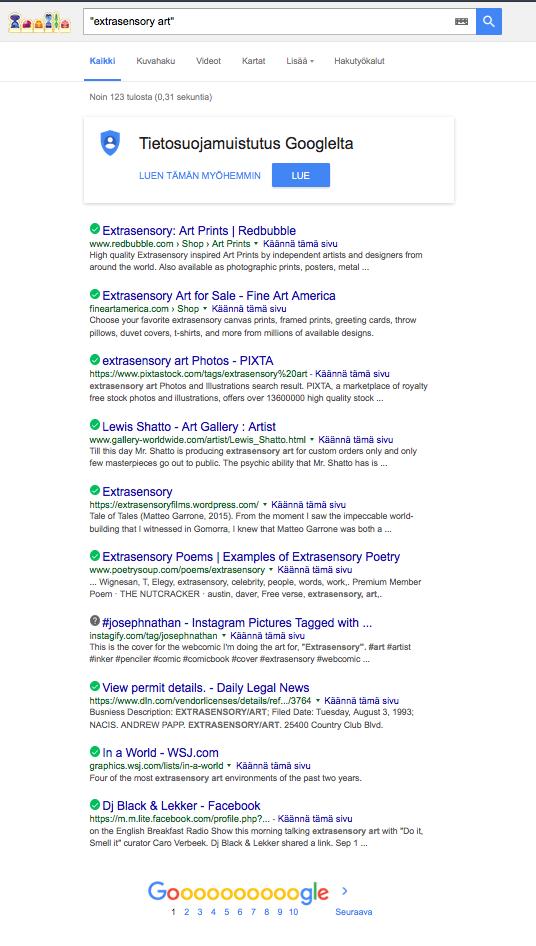 """Extrasensory Art"" + Jeroen Results at Google"